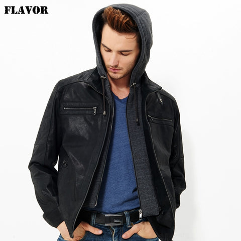 2016 Men's real leather jacket pigskin motorcycle Genuine Leather jacket men hooded leather coat hat double closure removable - Lord's Outdoors