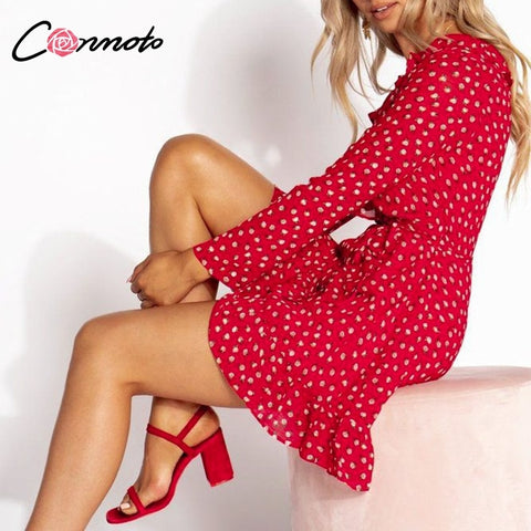 Conmoto Red Ruffles Wrap Sexy Women Dress Autumn Long Sleeve Witner Party Dress Short Winter Floral Casual Dress Vestidos - Lord's Outdoors