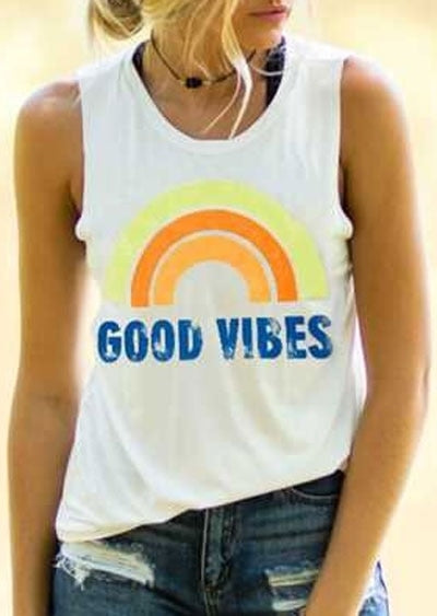 New Women Tank Tops Good Vibes O-Neck Tank Summer Sleeveless Female White Casual Tank Tops Fashion Femme Ladies Tops Tee - Lord's Outdoors