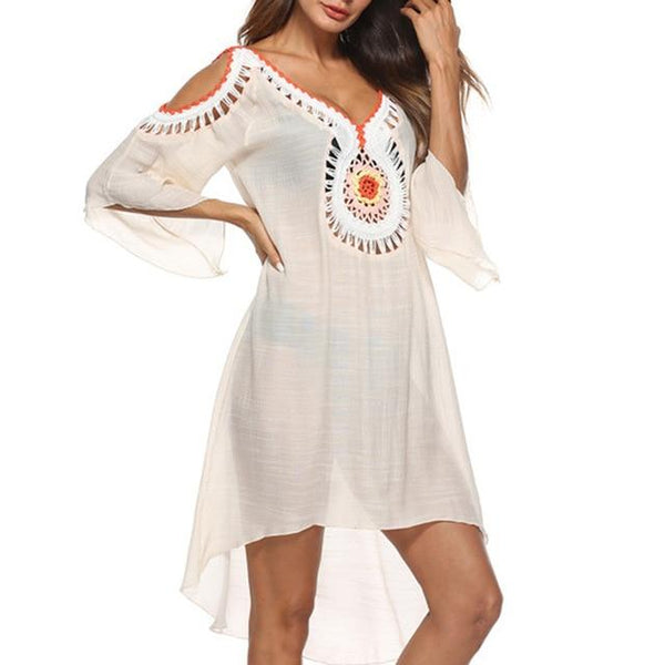 sexy white swimsuit 2019 Bikini Beach Dress swimwear women New one-piece Tassel Crochet Knitted Beach Cover Up Bathing Suit, Color - Beige - Lord's Outdoors