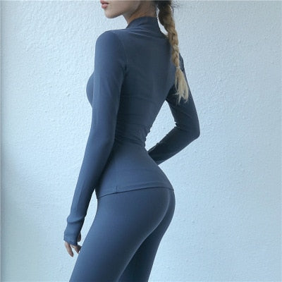 Women's Sexy Yoga Top Long Sleeve Sport T Shirt Quick Dry Gym Workout Top Running Shirt Women Fitness Top Tshirt Sportswear - Lord's Outdoors