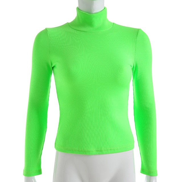 Darlingaga Winter turtleneck long sleeve t shirt women tops Fluorescent green fashion women's t-shirts casual knitted shirt - Lord's Outdoors