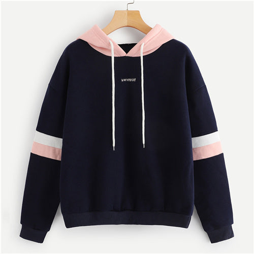 SweatyRocks Navy Contrast Panel Drawstring Hoodie Sweatshirt Long Sleeve Pullovers Women Hoodies Autumn Casual Sweatshirts - Lord's Outdoors