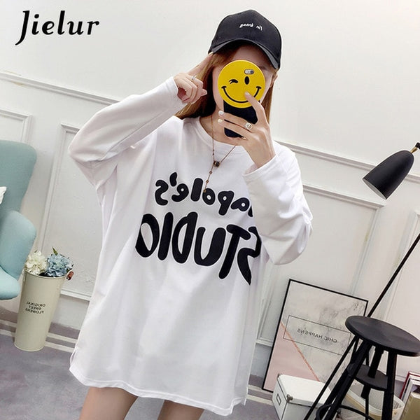 Jielur Casual Letter Printed Batwing Sleeve Korean Women Hoody Loose Harajuku Pullover Ladies Hoodies Sweatshirt - Lord's Outdoors