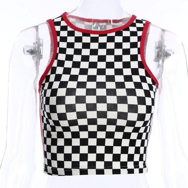 Darlingaga Casual summer checkerboard tank top vest side stripe patchwork crop top women slim contrast color checkered tops - Lord's Outdoors