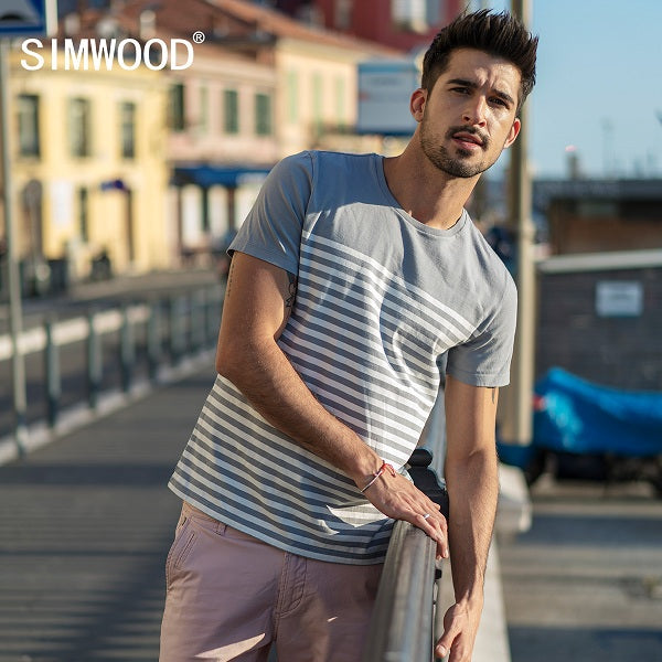 Simwood New Men's T-shirts Summer Fashion O-neck Short-sleeve Slim Fit Striped Tops Tees Plus Size Free Shipping - Lord's Outdoors