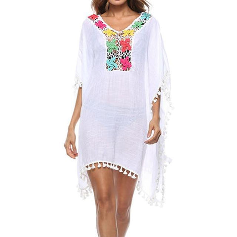 sexy white swimsuit 2019 Bikini Beach Dress swimwear women New one-piece Tassel Crochet Knitted Beach Cover Up Bathing Suit, Color - white - Lord's Outdoors