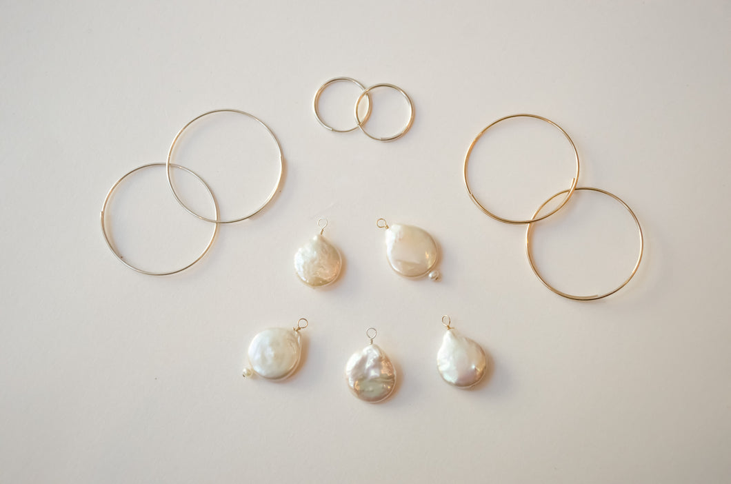 Hoops with pearl drop