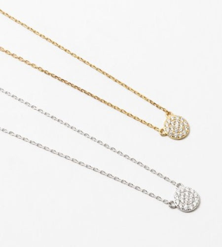 Small pave disc necklace