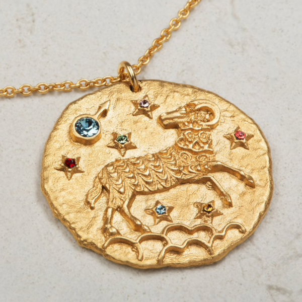 Gold Aries Zodiac Necklace