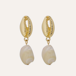 Gold Conch Shell Earrings