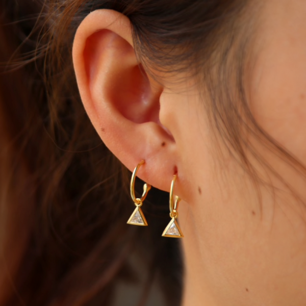 Gold Half Hoop Pendant Earrings