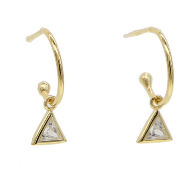 Gold Half Hoop Pyramid Pendant Earrings