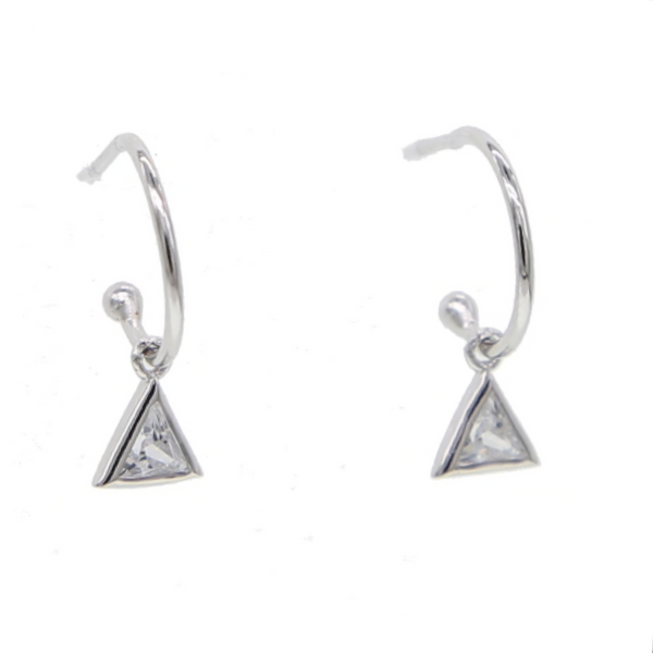 Silver Half Hoop Pendant Earrings