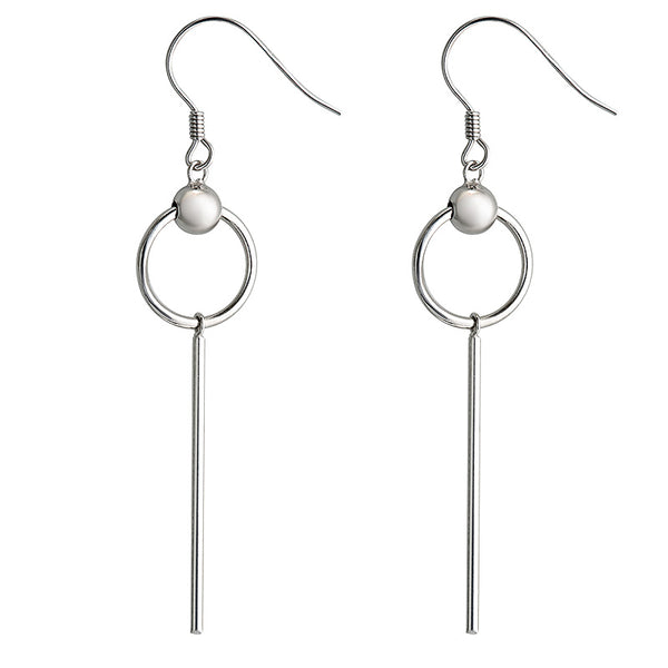 Bar & Circle Silver Earring