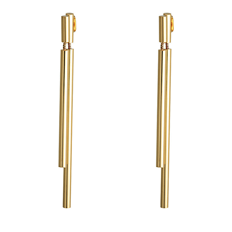 Gold Double Drop Bar Earrings