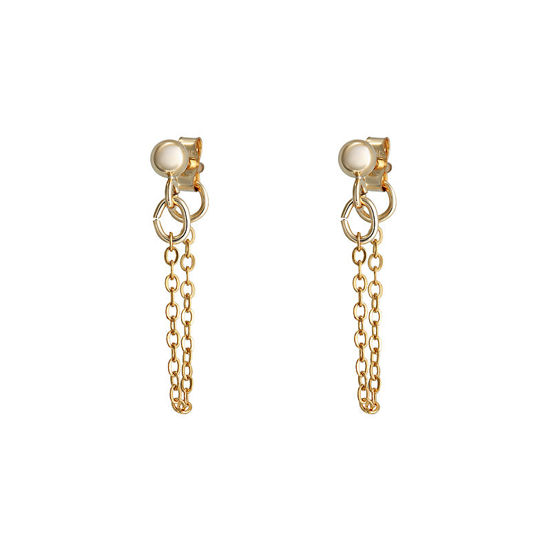 Dainty Chain Gold Earring – The Jewellery Society