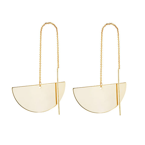 Half Circle Thread Gold Earring