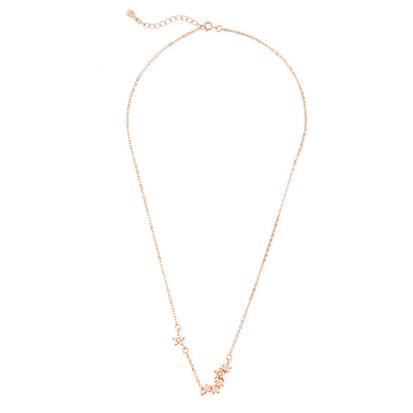 Star Girl Rose Gold Cluster Necklace