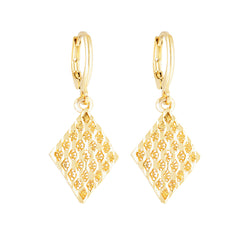 Gold Diamond Textured Earring