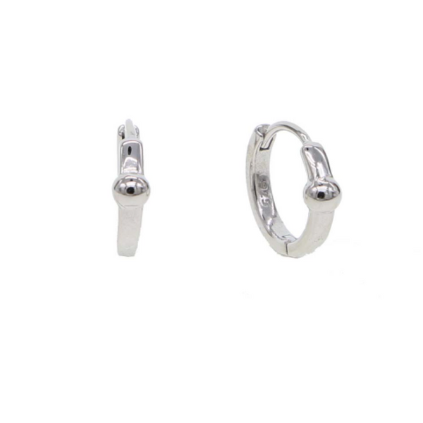 Silver Orb Huggie Earrings