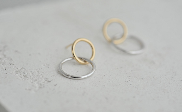 Two Tone Circle Stud Earring