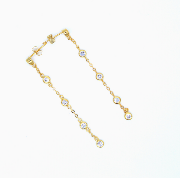 Gold Cubic Zirconia Chain Earring