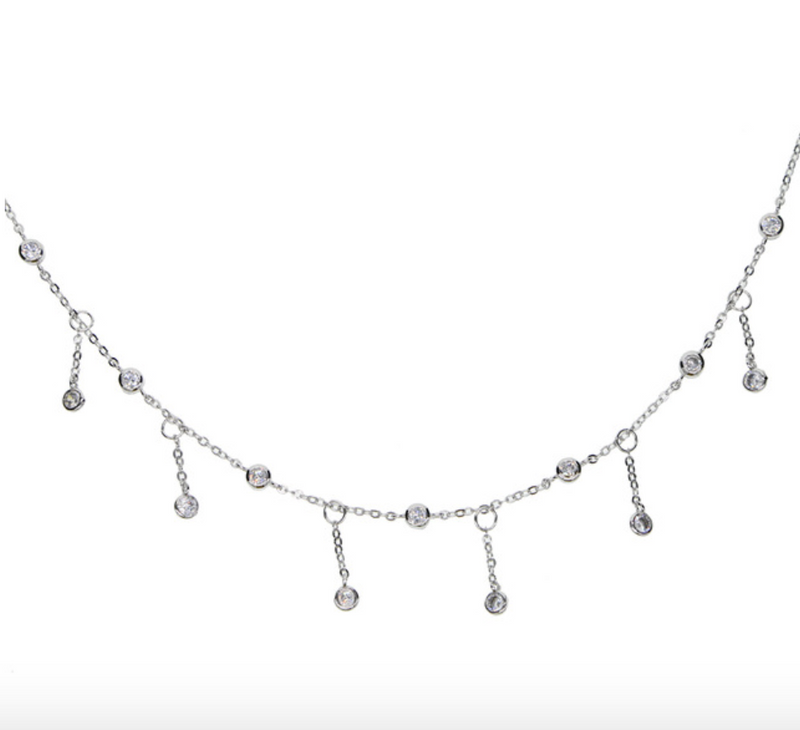 Dainty Silver Dangle Choker