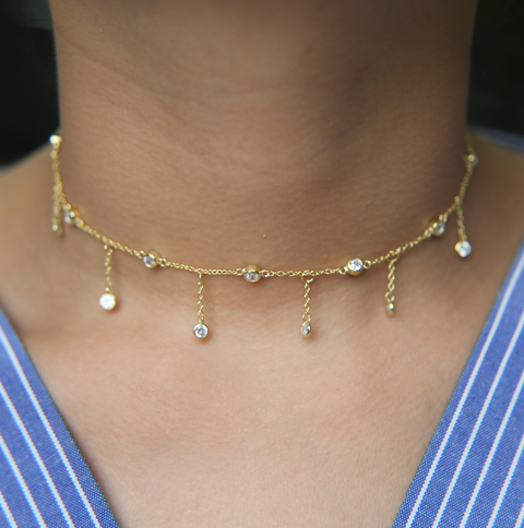 Dainty Gold Dangle Choker