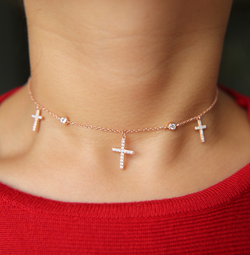 Rose Gold Cross Pendant Choker