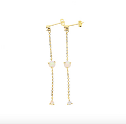 Gold & White Opal Dangle Earring