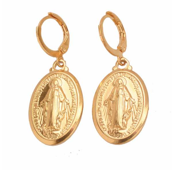Ave Maria Gold Drop Earring