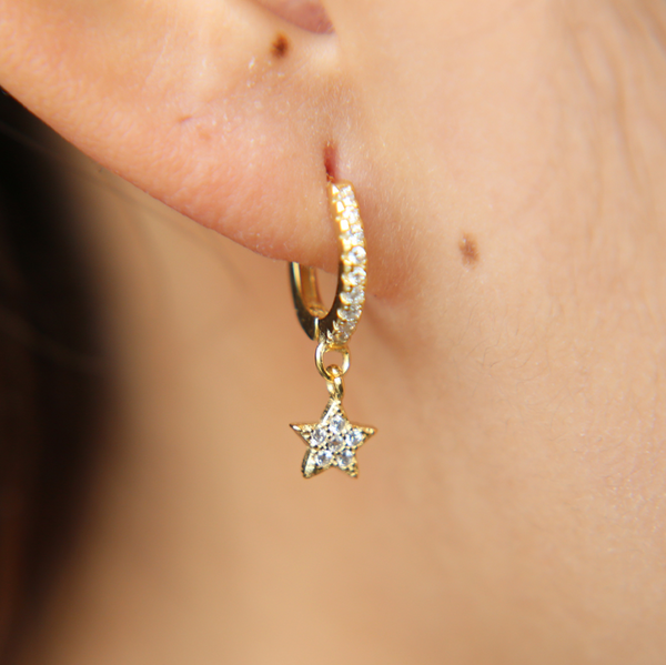 Gold Star Hoop Earring