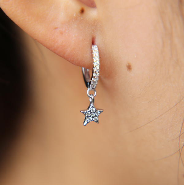 Platinum Star Hoop Earring