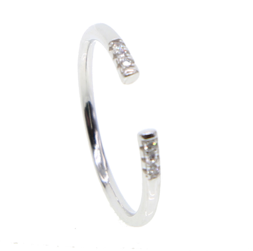 Platinum Cubic Zirconia  Open Ring