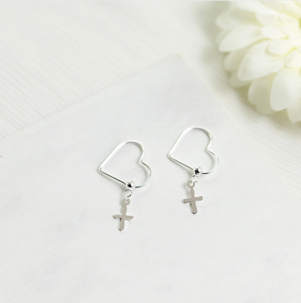 Mini Silver Cross Earrings