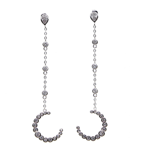 Platinum Crescent Earring