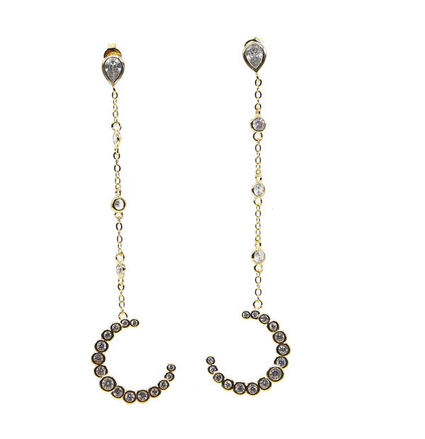 Gold Crescent Moon Earring