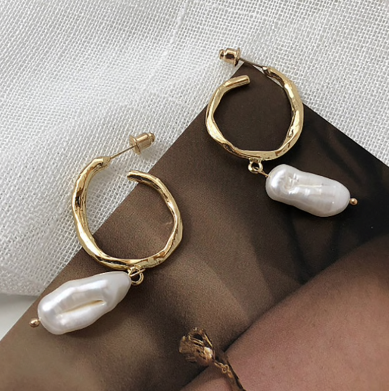 Gold Pearl Shell Half Hoops