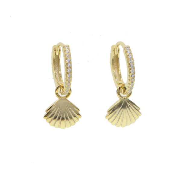 Gold Hoop Shell Earrings