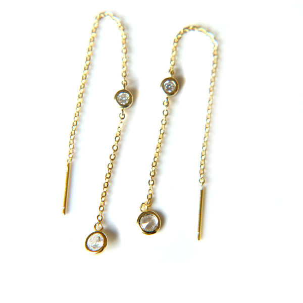 Double Zirconia Gold Thread Earring
