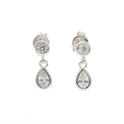 Platinum Tear Drop Earring