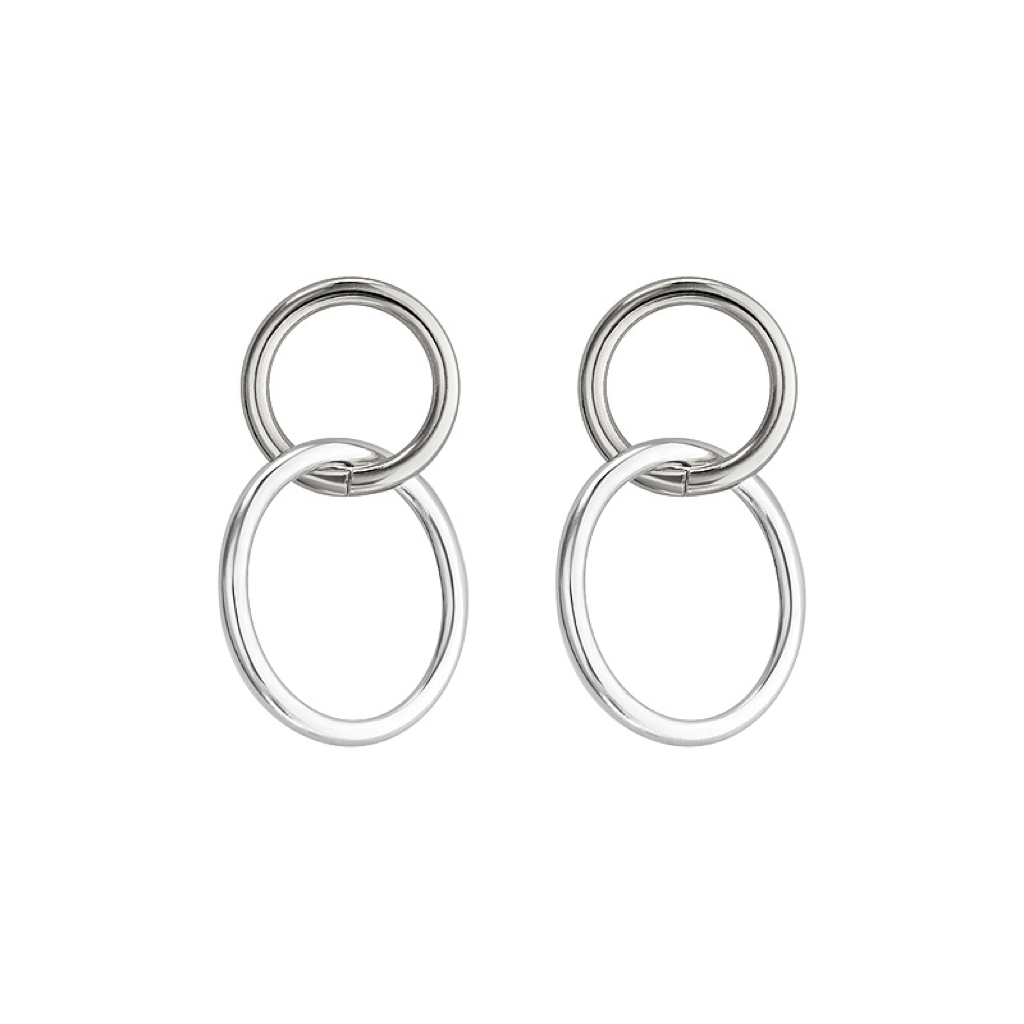 Tones Circle Silver Earring