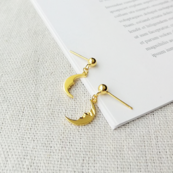 Gold Crescent Moon Studs