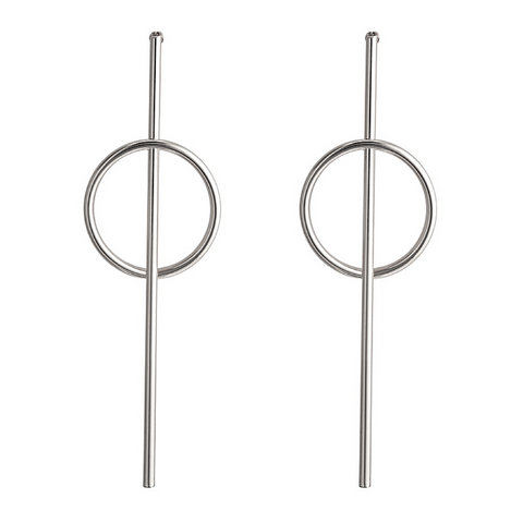Silver Geometric Drop Earring