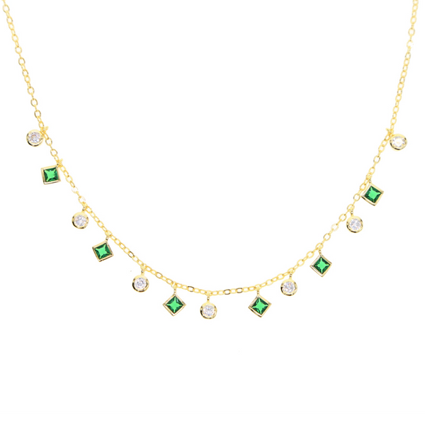 Green & Gold Dangle Crystal Choker