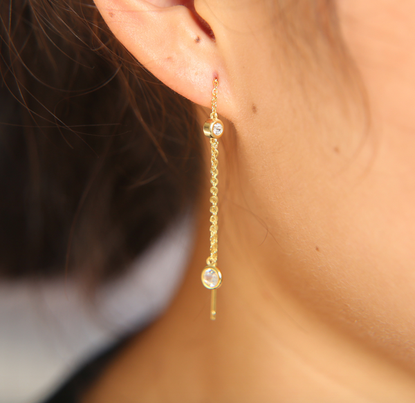 Capsule Gold Thread Earring