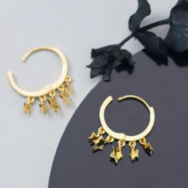 Gold Stars Aligned Earrings