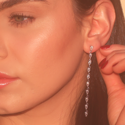 Tear Drop Zirconia Tennis Earrings