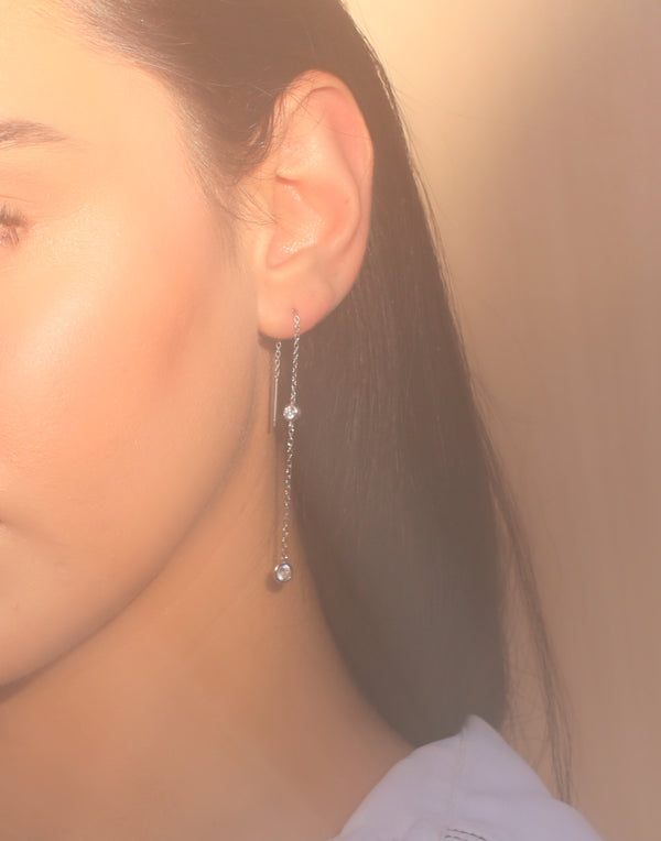 Double Zirconia Platinum Thread Earring